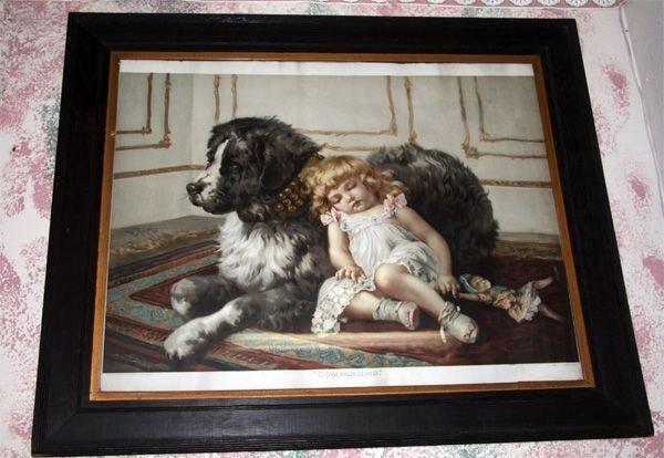 Antique Oak Framed Large Print - Circa 1905