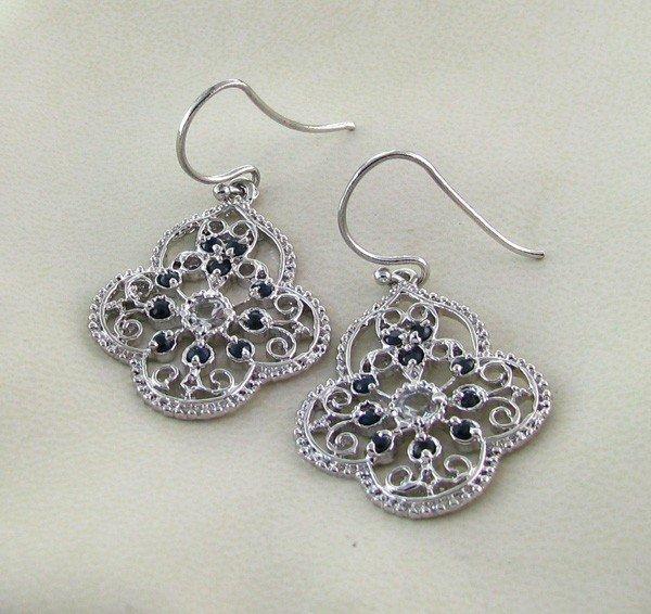 APP: 2k 1.80CT Sapphire w/Topaz & Silver Earrings