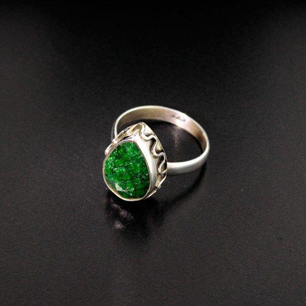 39: APP: 1k 6.38CT Green Sapphire & Sterling Silver Rin