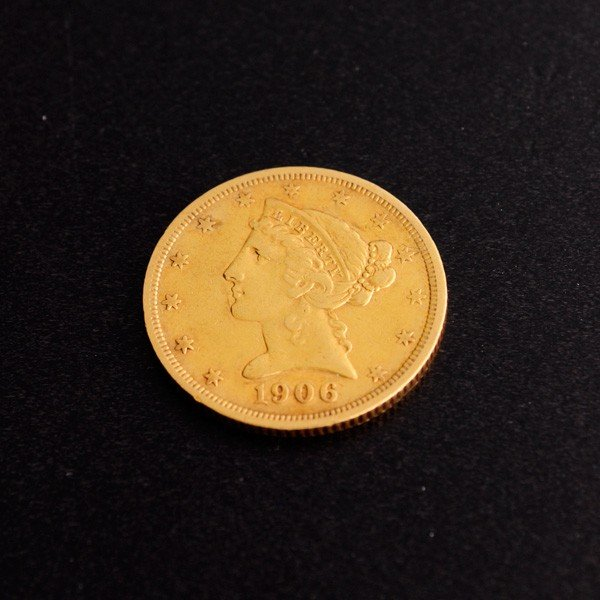 63: 1906-S $5 U.S Liberty Head Gold Coin - Investment