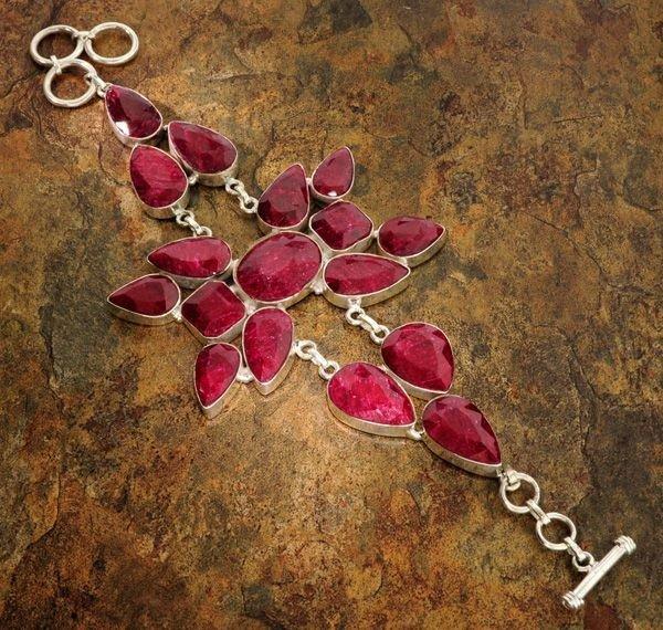 APP: 27.3k 119.29CT Ruby & Sterling Silver Bracelet