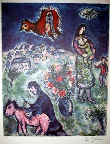 MARC CHAGALL Sur La Route du Village Print, Limited Edn