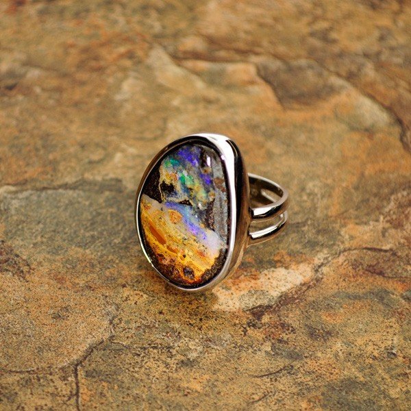 APP: 6.8k 22.30CT Boulder Opal & Sterling Silver Ring