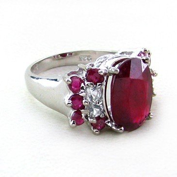 APP: 17k 6CT Ruby & Platinum Sterling Silver Ring
