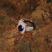 APP 9k 14kt White Gold 2CT Sapphire  Diamond Ring