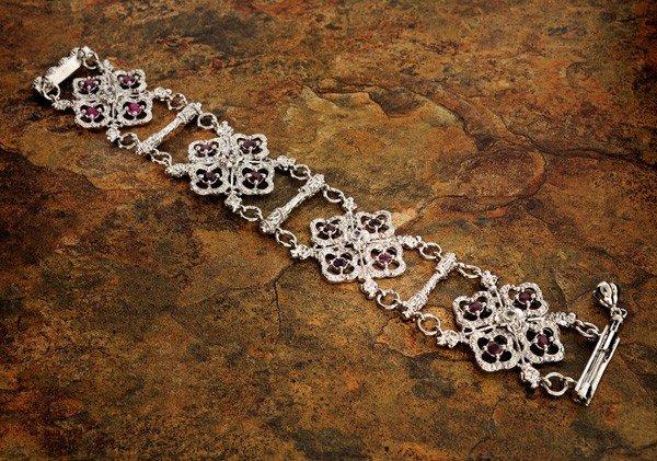 APP: 8k 3CT Ruby Platinum Sterling Silver Bracelet