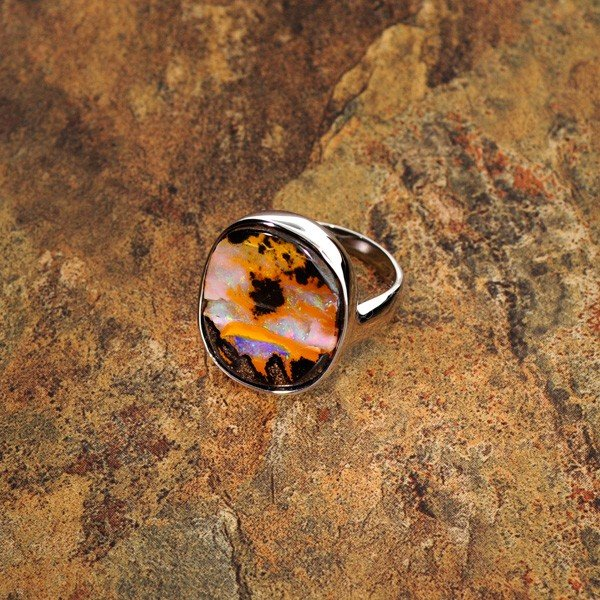 APP: 6.8k 20.00CT Boulder Opal & Sterling Silver Ring