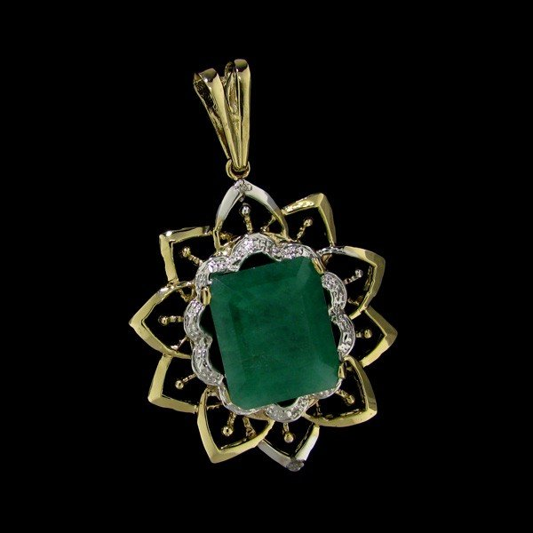 APP: 25.4k 16.21CT 14kt Gold, Emerald & Diamond Pendant