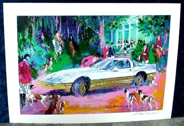 Hand Signed LeRoy Neiman: Fox Hunt / Corvette