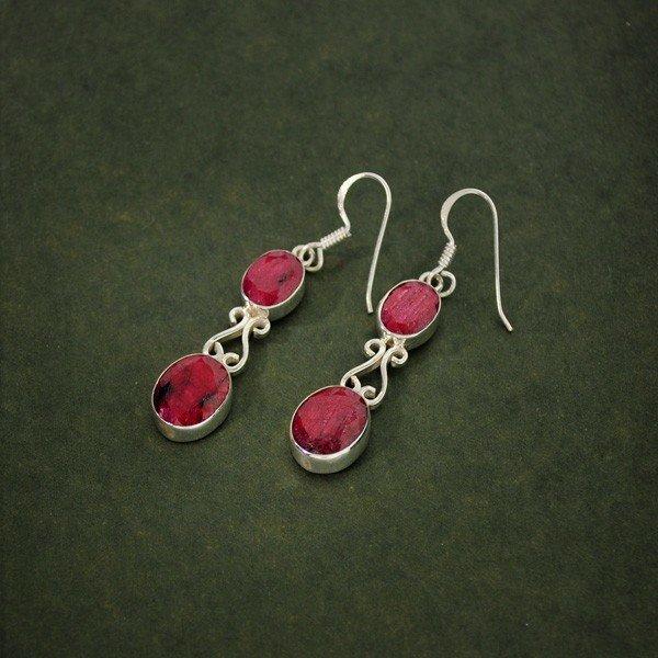 APP: 5.5k 11.42CT Ruby & Sterling Silver Earrings