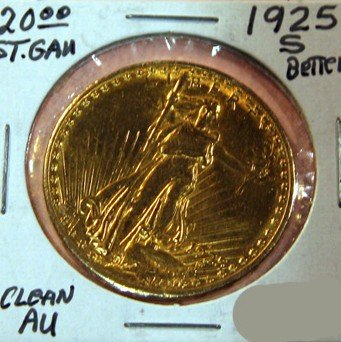 1925-S $20 U.S. Saint Gaudens Gold Coin - Investment