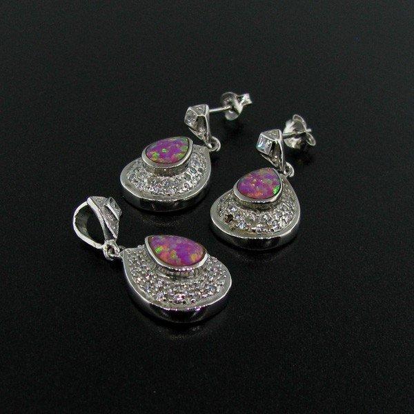 Sterl Silver Pink Opal Earrings, & Pendant Set Earrings