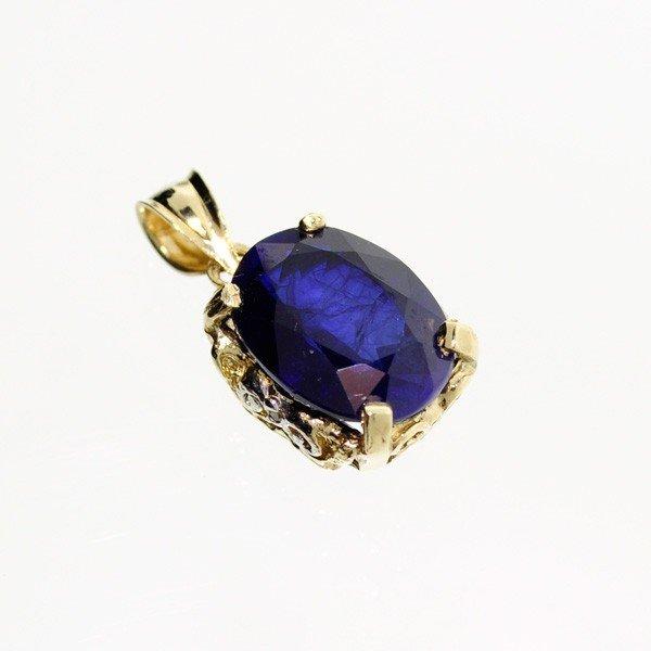 APP: 8.4k 14 kt. Gold, 9.73CT Blue Sapphire Pendant