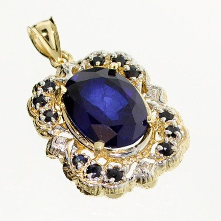 APP: 17k 14 kt. Gold, 11.39CT Blue Sapphire Pendant