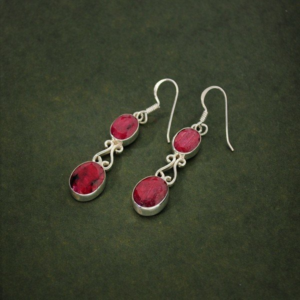APP: 5.5k 11.42CT Ruby & Sterling Silver Earrings