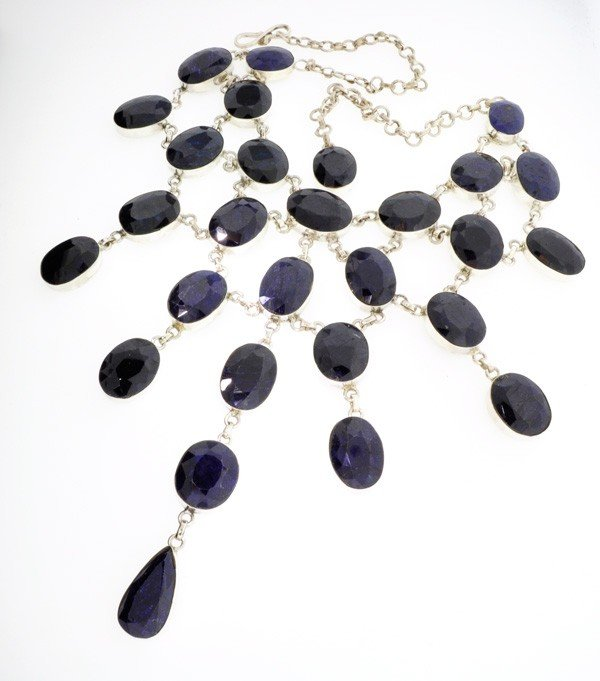APP: 70k 537CTBlue Sapphire & Sterling Silver Necklace