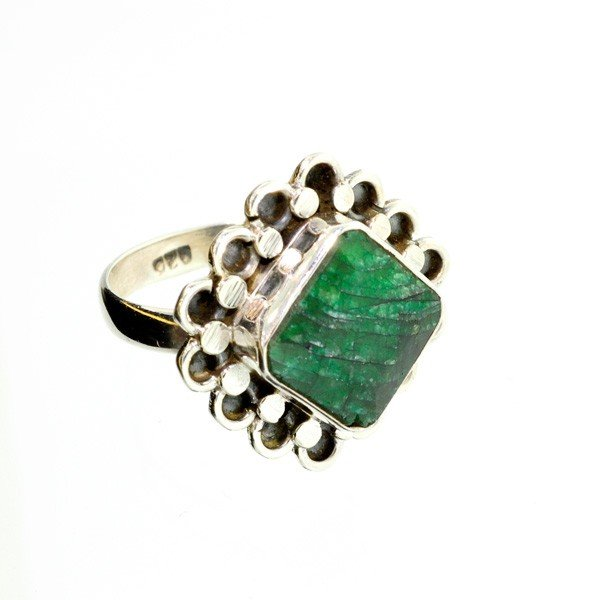 APP: 1.2k 7.11CT Green Sapphire & Sterling Silver Ring