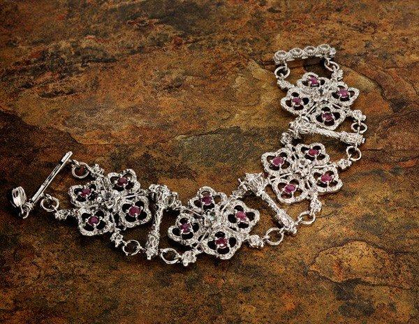 APP: 6k 2CT Ruby Platinum Sterling Silver Bracelet