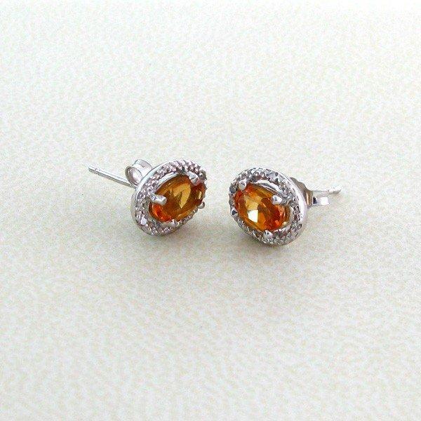 APP: 0.4k 0.8CT Quartz w/Diamond & 18kt Silver Earrings