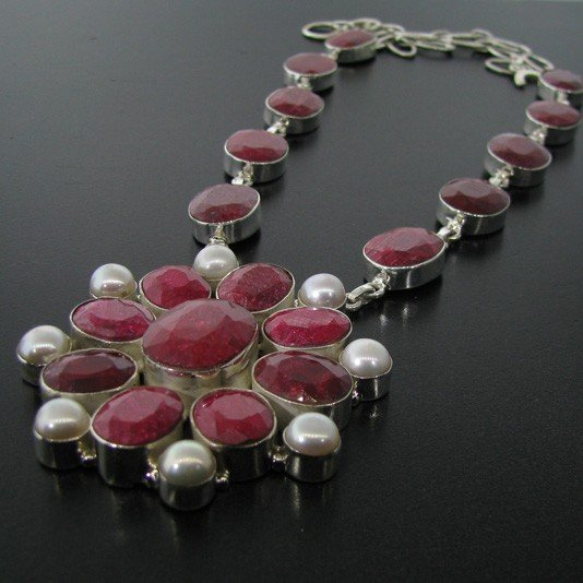 APP: 57.7k 151.69CT Ruby & Sterling Silver Necklace