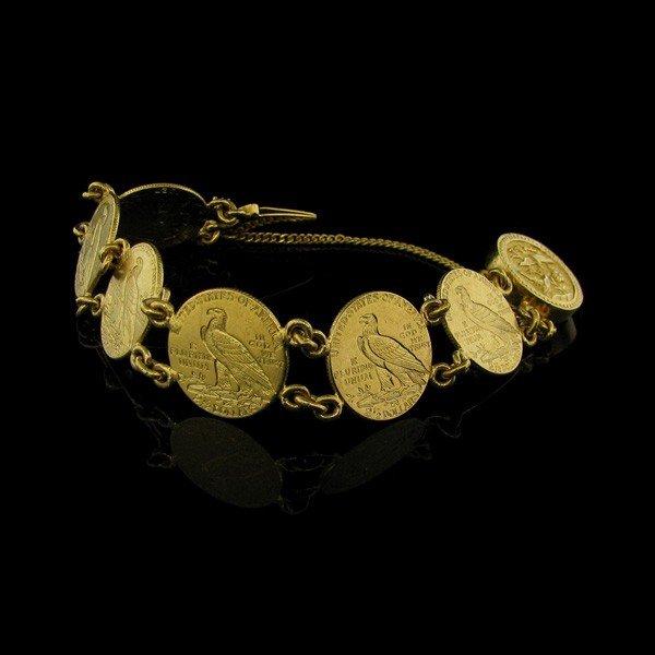 1925 $ 2.5 U.S. Indian Head Gold (6 Coins Bracelet)