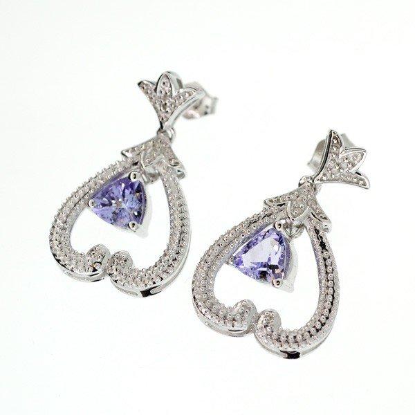 APP: 2k 18kt Silver, 1CTTanzanite & Diamonds Earrings