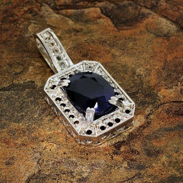 APP: 8k 12.84CT Blue Sapphire & Sterling Silver Pendant