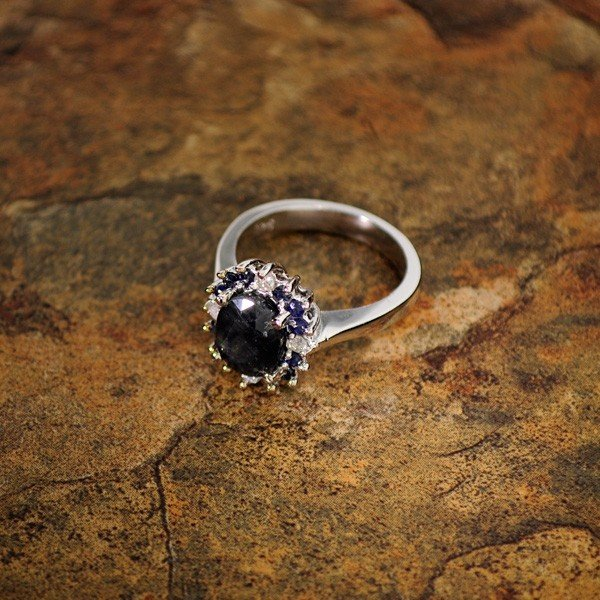 APP: 4k 2CT Sapphire Platinum Sterling Silver Ring
