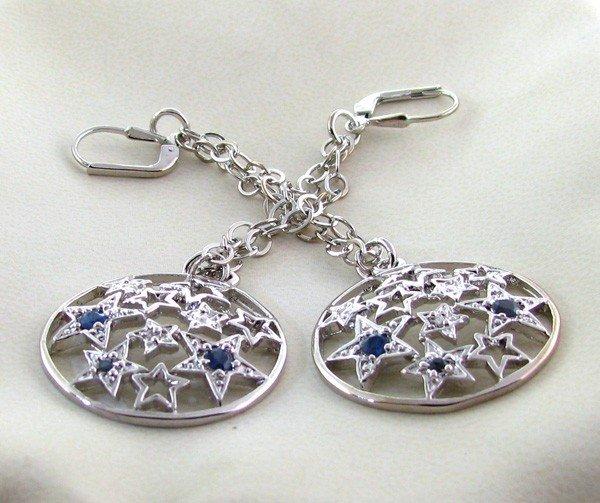 APP: 1k 0.56CT Sapphire w/Diamond & Silver Earrings