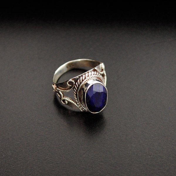 APP: 1k 4.28CT Blue Sapphire & Sterling Silver Ring
