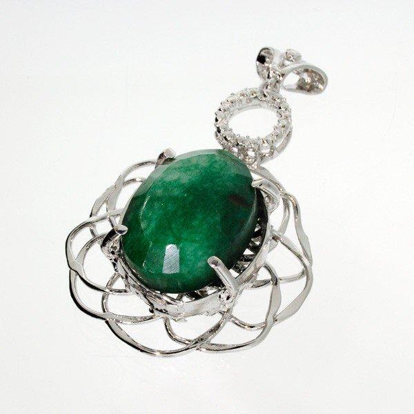 APP: 3.4k 43.70CT Emerald & Sterling Silver Pendant