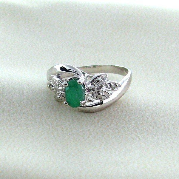APP: 1k 0CTEmerald w/Diamonds & Sterling Silver Ring
