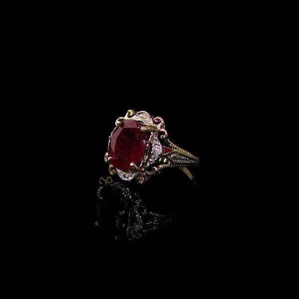 APP: 4k 14kt Yellow & W Gold, 3CT Ruby & Diamonds Ring
