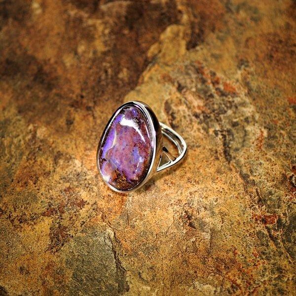 APP: 17.8k 53.5CT Boulder Opal Sterling Silver Ring