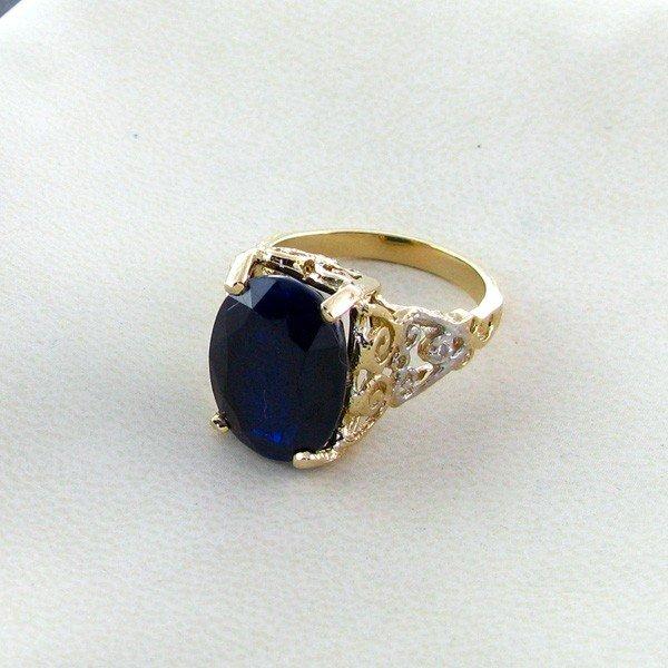 APP: 10.1k 14 kt. Gold, 11.35CTBlue Sapphire Ring