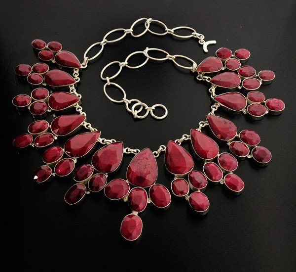 APP: 59.4k 408.67CT Ruby  & Sterling Silver Necklace