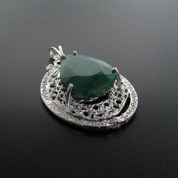 APP: 17.8k 63.23CT Emerald & Sterling Silver Pendant