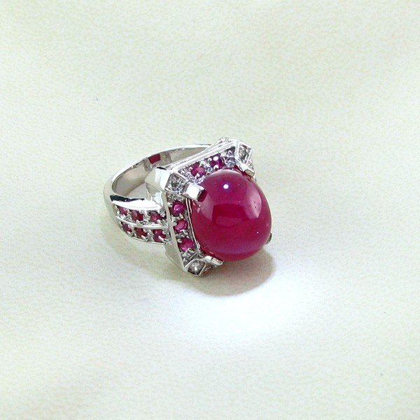 APP: 16k 13CT Ruby & Platinum Sterling Silver Ring