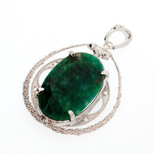 APP: 3.4k 48.62CT Emerald & Sterling Silver Pendant