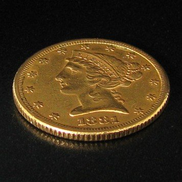 1881 $5 U.S Liberty Head Gold  Coin - Investment