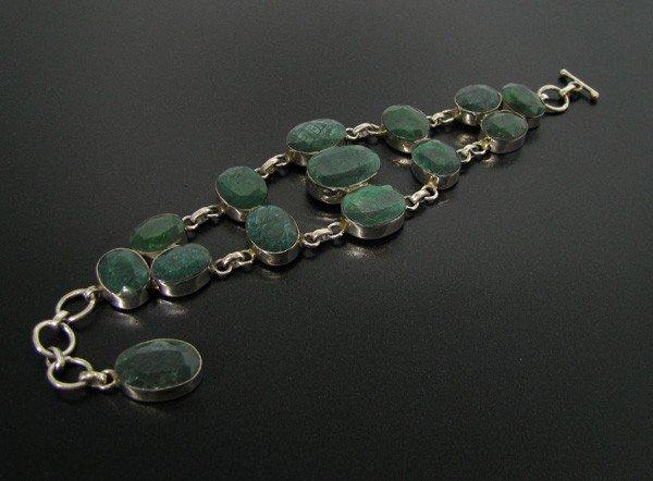 APP: 30k 108.66CT Grn Sapphire & Sterl Silver Bracelet