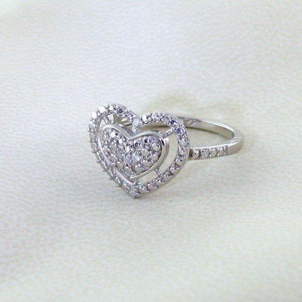 APP: 0k 18kt Gold & Silver Overlay, 0.07CT Diamond Ring