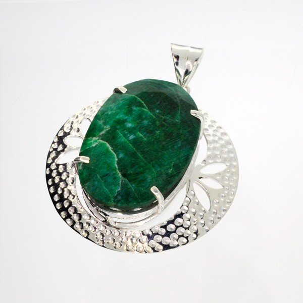 APP: 6.9k 110.21CT Emerald & Sterling Silver Pendant