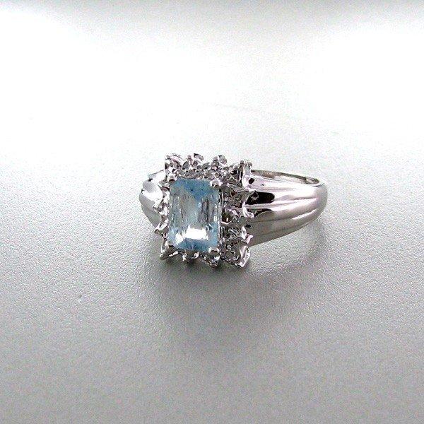 APP: 1k 0CTAquamarine w/Diamonds & Sterling Silver Ring