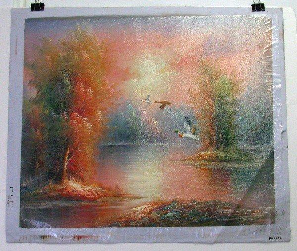 Oil Painting (3 Ducks Flying On Lake) 23.5 X 27