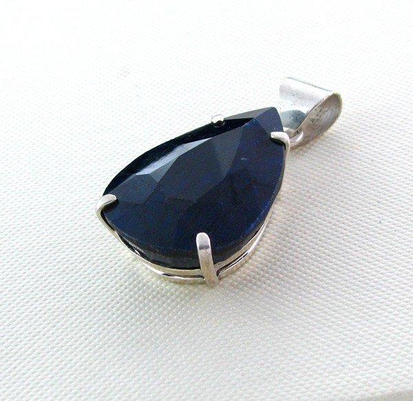 APP: 12k 93CTBlue Sapphire & Sterling Silver Pendant