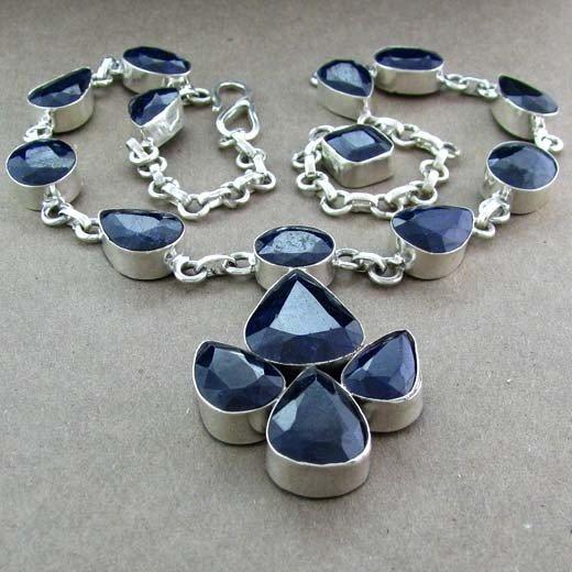 APP: 21k 151CTBlue Sapphire & Sterling Silver Necklace