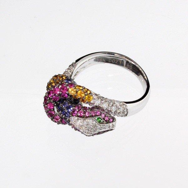 APP: 8k 18kt W Gold, 1CT Diamond/Sapphire, Gems, Ring