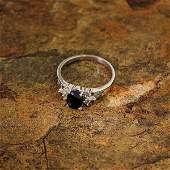 APP 2k 14kt White Gold 1CT Sapphire  Diamond Ring