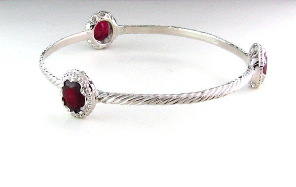 APP: 14.2k 10.33CT Ruby & Sterling Silver Bracelet